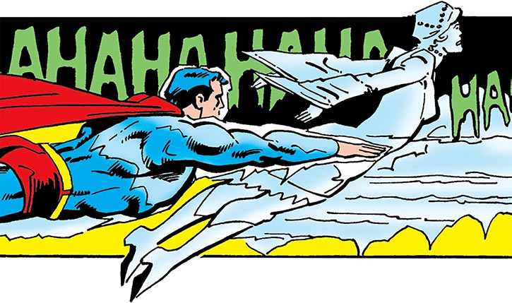 Killer Frost (Crystal Frost) flying with an enslaved Superman (DC Comics)