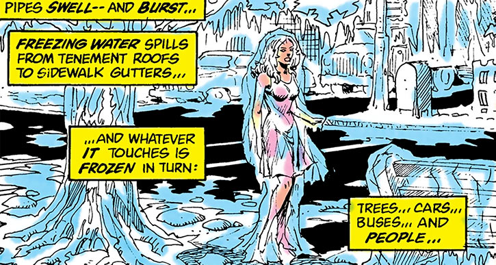 A neighbourhood trapped in ice by Killer Frost (Firestorm enemy) (DC Comics)