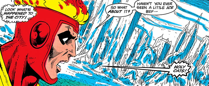 Firestorm realises that Killer Frost iced up most of the city (DC Comics)