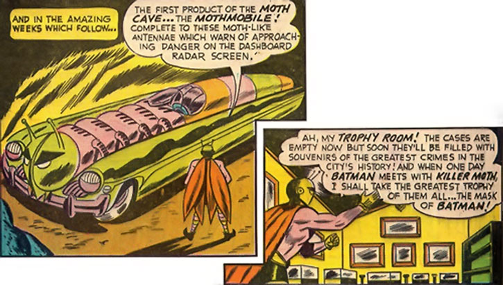Killer Moth's Mothmobile and trophy room