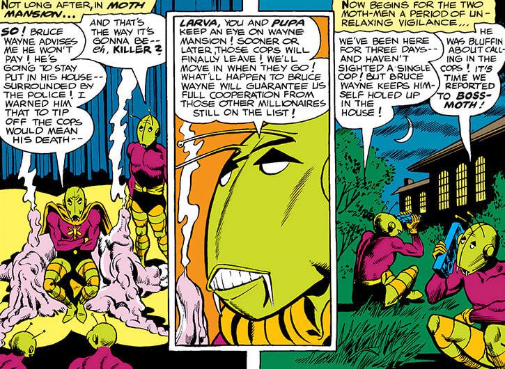 Killer Moth of Earth-1 (Batgirl enemy) (DC Comics) inhuman face closeup