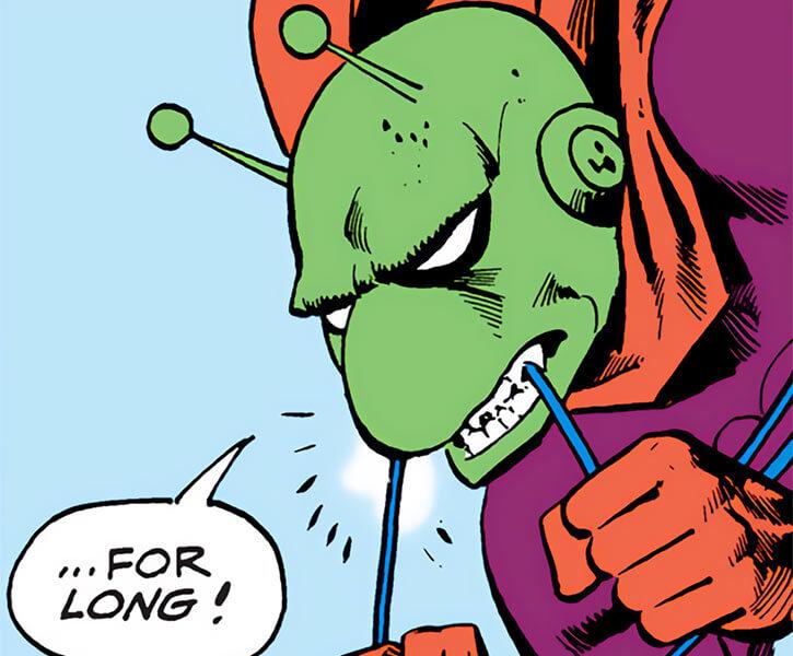 Killer Moth of Earth-1 (Batgirl enemy) (DC Comics) biting through a rope