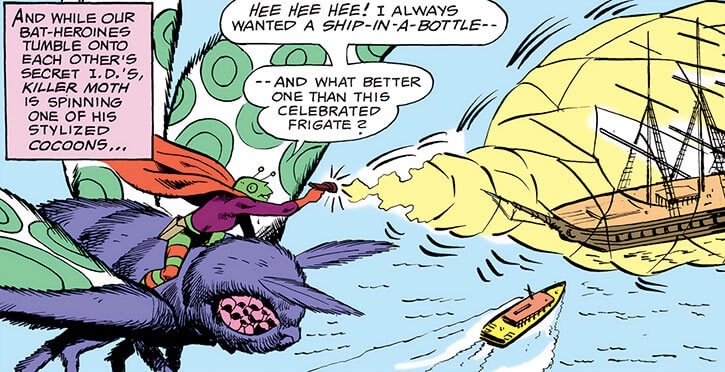 Killer Moth of Earth-1 (Batgirl enemy) (DC Comics) riding a mechanical flying moth