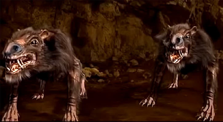 Return of the Killer Shrews (2012 movie monster) two shrews in a cave