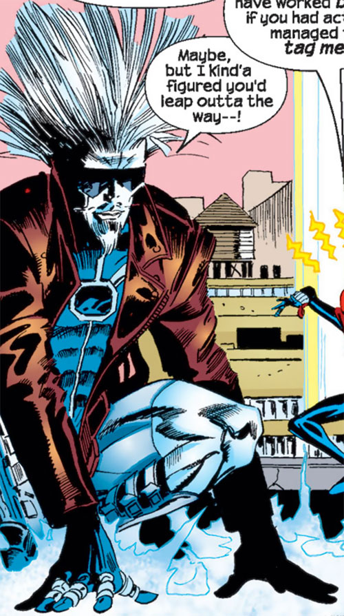 Killerwatt (Spider-Girl enemy) (Marvel Comics MC2) electrifies the ground