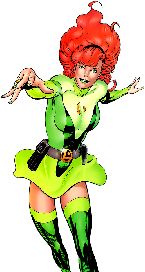 Kinetix (Zoe Saugin) in a green dress over a white background (LSH / DC Comics)