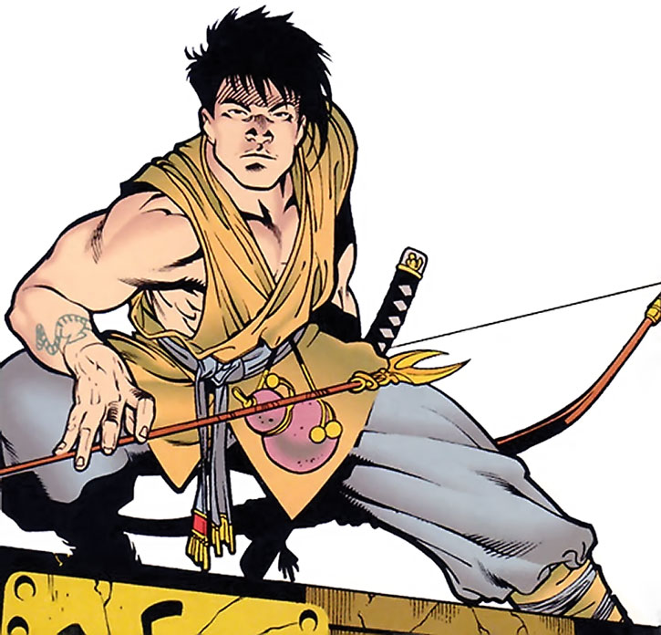 King Tiger crouching with a readied arrow