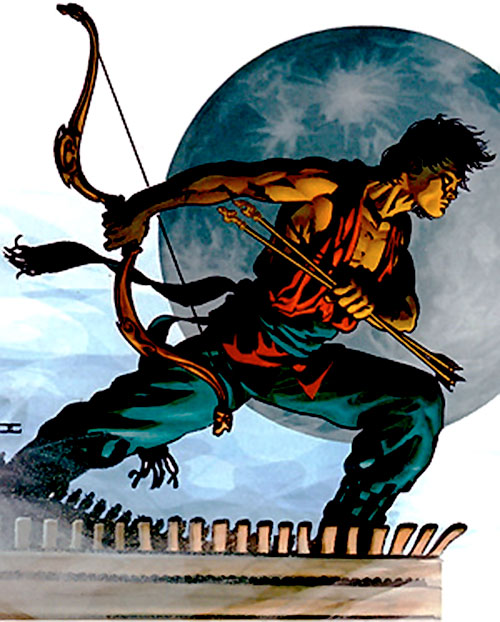 King Tiger (Dark Horse comics) with his bow, and the Moon