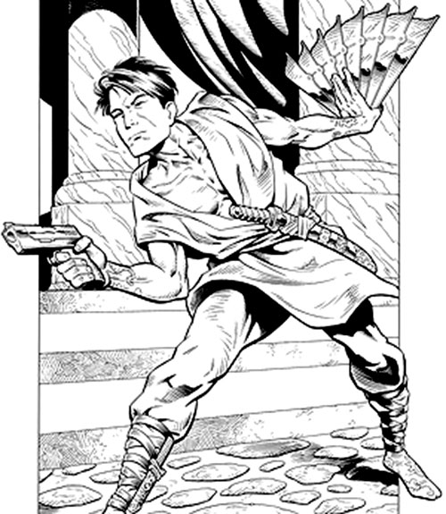 King Tiger (Dark Horse comics) with a pistol and war fan