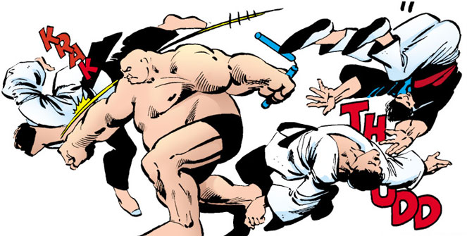 Kingpin (Wilson Fisk) sparring with martial artists