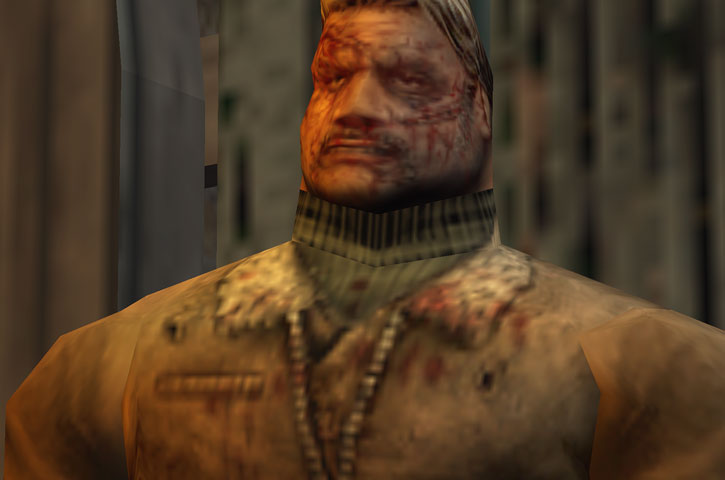 The thug in the Kingpin video game after a beating