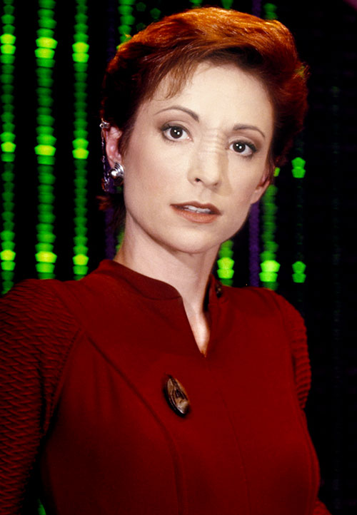 Kira Nerys (Nana Visitor in Star Trek) looking sarcastic
