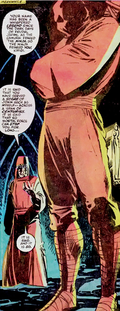 Kirigi of the Hand (Daredevil / Elektra enemy) (Marvel Comics) standing in a cave