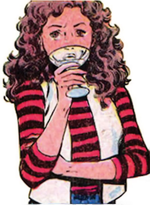 Kitty Pryde of the X-Men (Marvel Comics) (Earliest profile) drinking in a striped sweater
