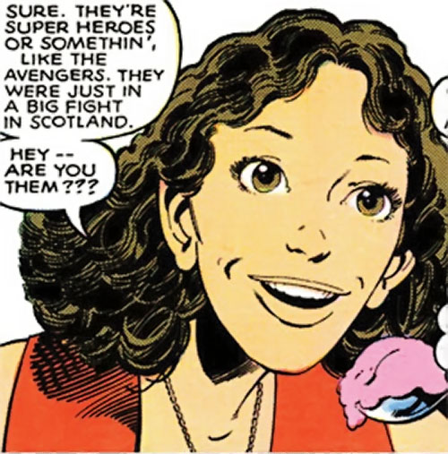 Kitty Pryde of the X-Men (Marvel Comics) (Earliest profile) face closeup