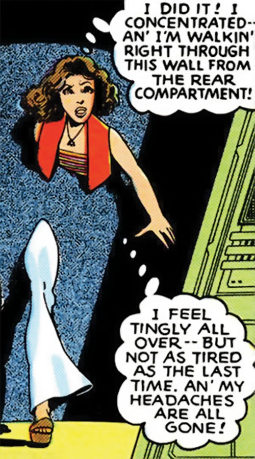 Kitty Pryde of the X-Men (Marvel Comics) (Earliest profile) stepping through a wall