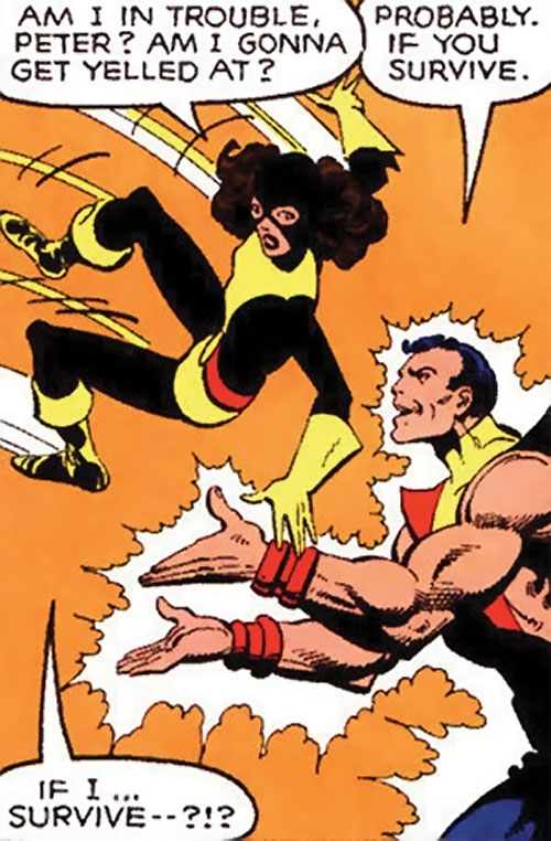 Kitty Pryde of the X-Men (Marvel Comics) (Earliest profile) landing in Colossus's arms