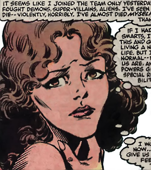Kitty Pryde of the X-Men face closeup (Marvel Comics)