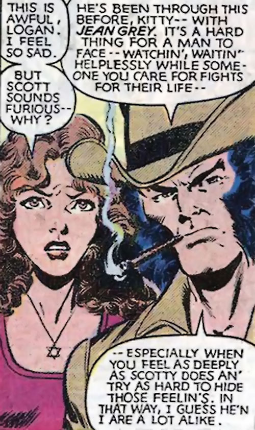 Kitty Pryde of the X-Men discussing with Wolverine about Cyclops (Marvel Comics)