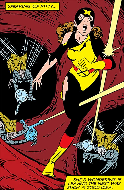 Kitty Pryde of the X-Men chased by Brood (Marvel Comics)