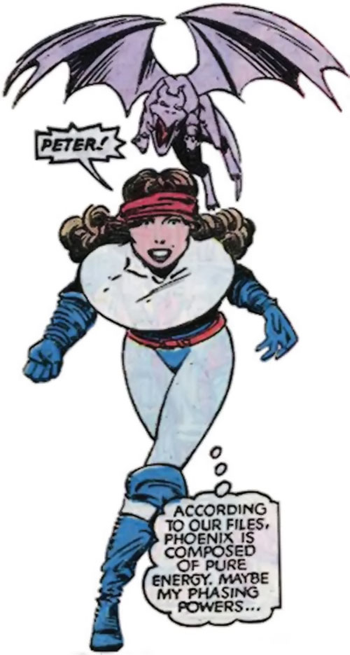 Kitty Pryde of the X-Men (Early) (Marvel Comics) blue and white costume plus Lockheed
