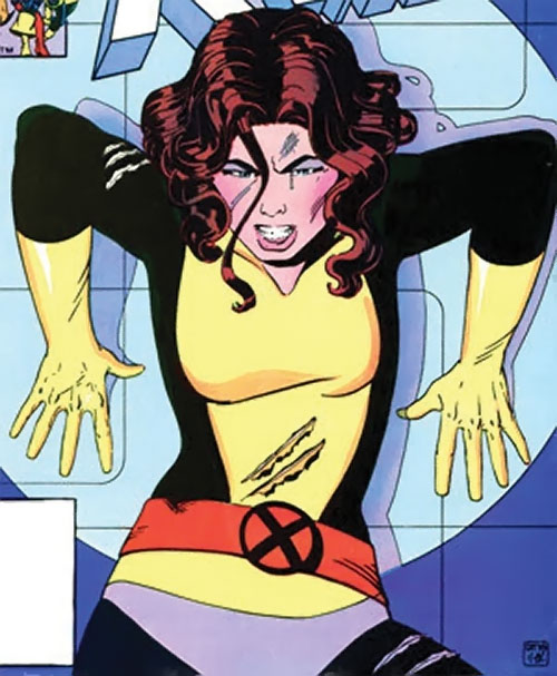 Kitty Pryde of the X-Men (Early) (Marvel Comics) pinned by a searchlight