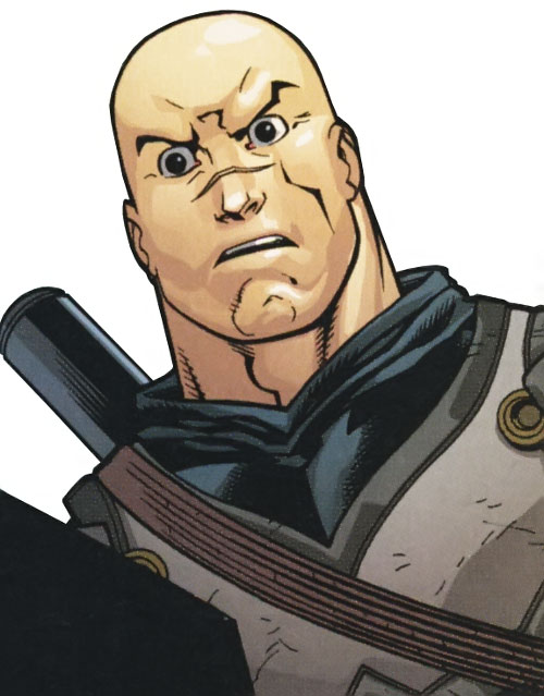 Knight (Batman ally) (DC Comics) (British Sheldrake) face closeup bald