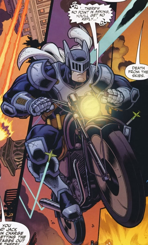 Knight (Batman ally) (DC Comics) (Sheldrake) on a motorcycle