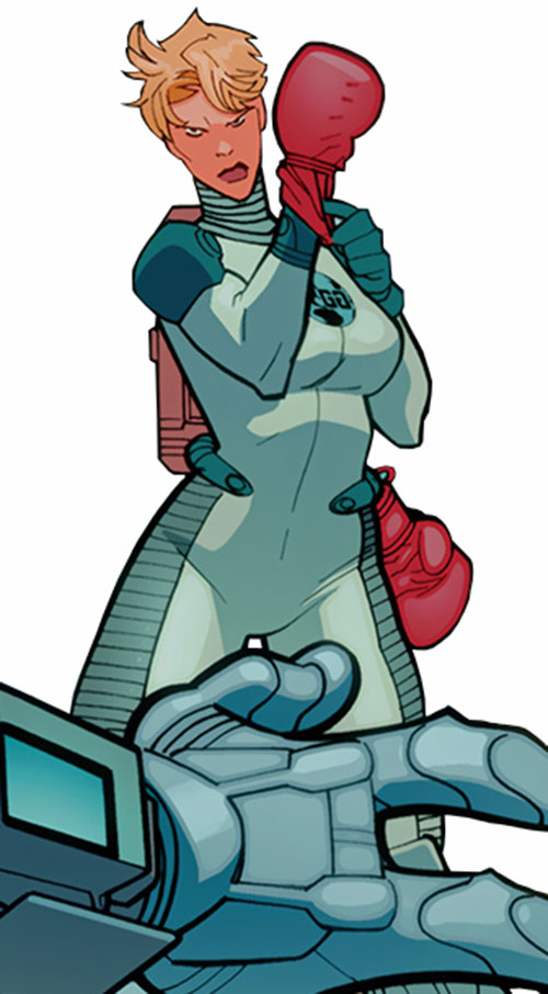 Knock Out (Guardians of the Globe (Image Comics) putting on her gloves
