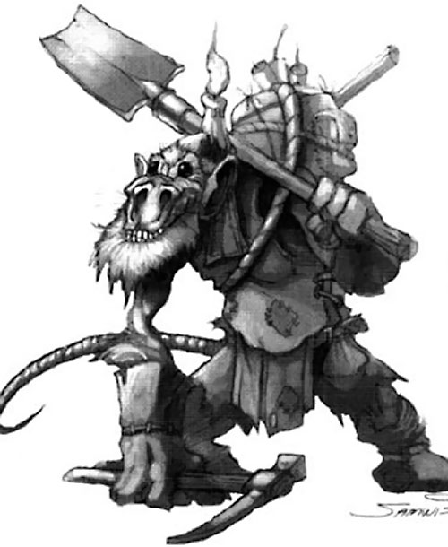 Kobold in World of Warcraft B&W art by Samwise