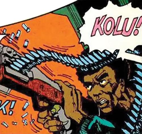 Kolu M'Beya (Manhunter DC Comics) firing a machinegun