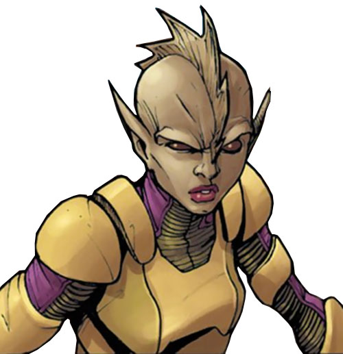 Komodo of the Avengers Initiative (Marvel Comics) face closeup