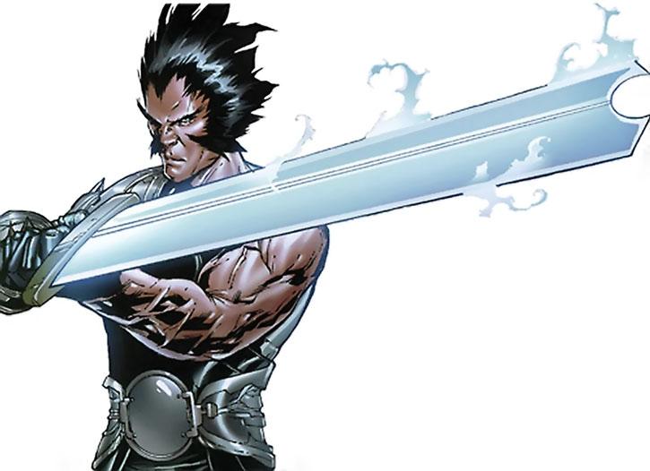Korvus brandishing his huge sword
