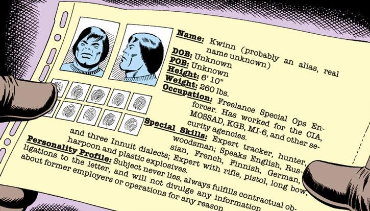 Kwinn the Eskimo - GI Joe - Marvel Comics - File card