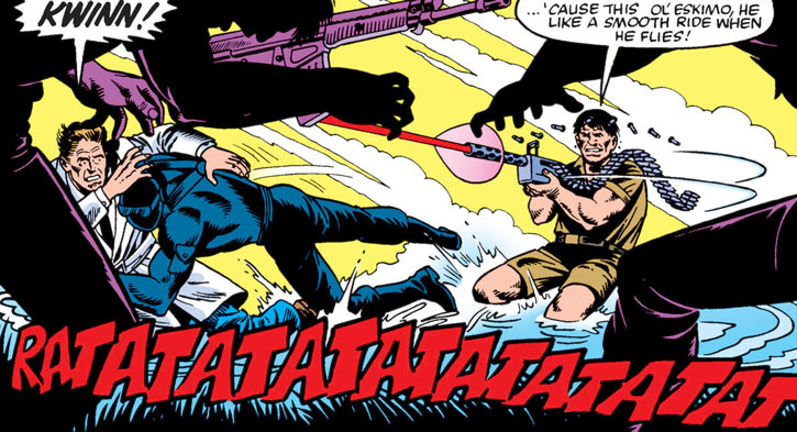 Kwinn the Eskimo - GI Joe - Marvel Comics - Machinegunning