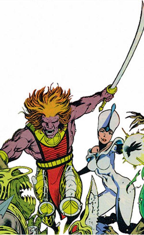 Kylun (Excalibur character) (Marvel Comics) and Sat'neen in battle