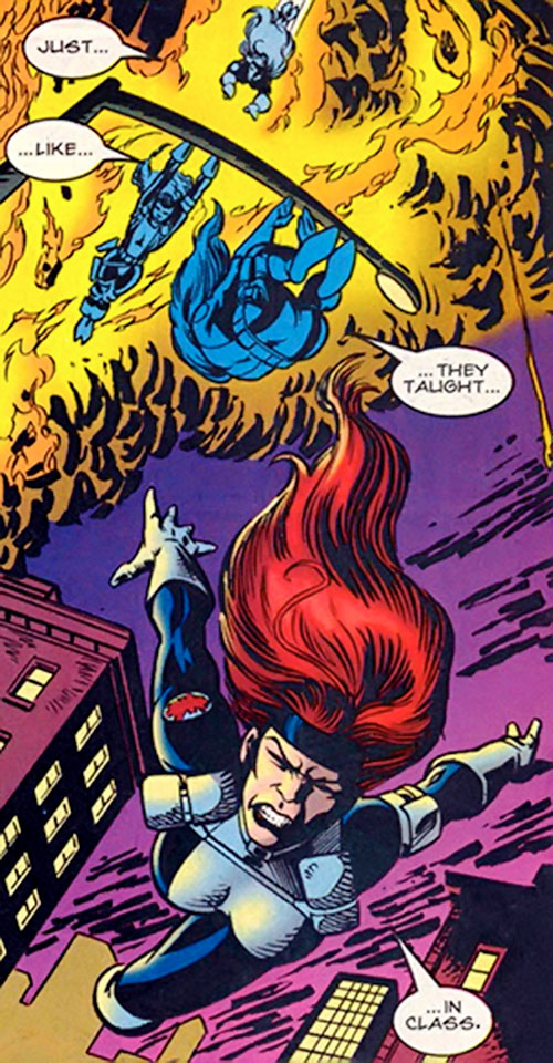 Kymberly Taylor of SHIELD (Punisher ally) (Marvel Comics) doing acrobatics
