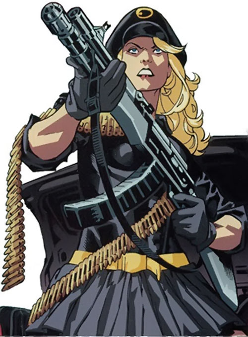 Lady Blackhawk of the Birds of Prey (DC Comics) with an assault rifle
