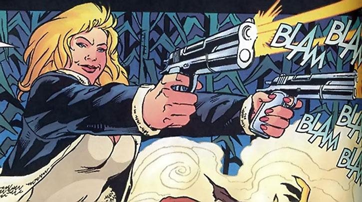 Lady Blackhawk (Zinda Blake) dual-wielding .45 pistols