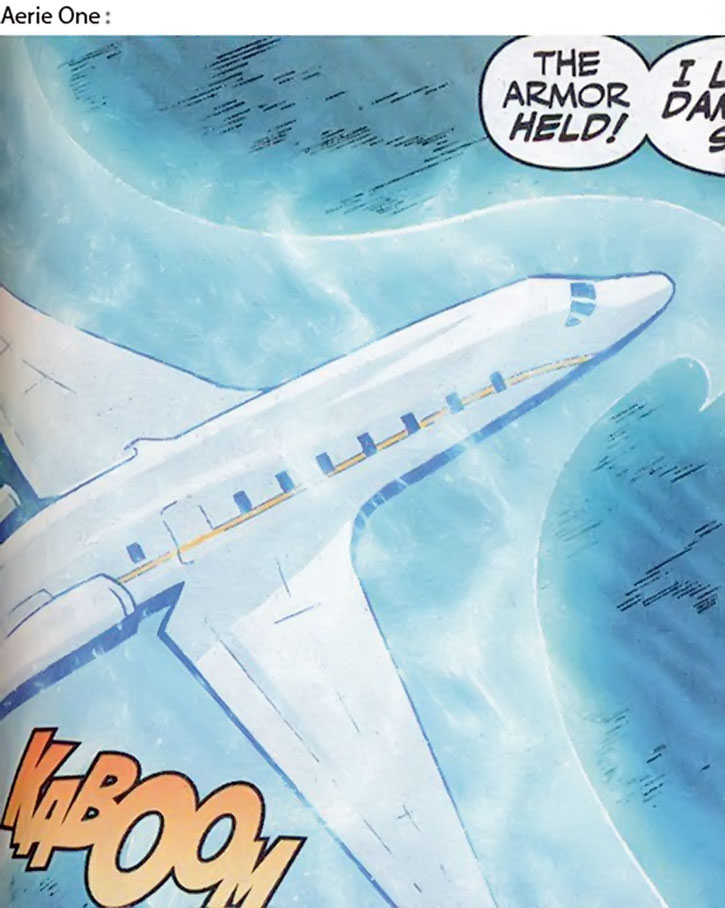 Lady Blackhawk (Zinda Blake)'s Aerie-1 jet with its force field on