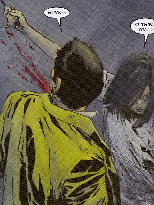 Lady Bullseye (Daredevil enemy) (Marvel Comics) slashes open the throat of a guy