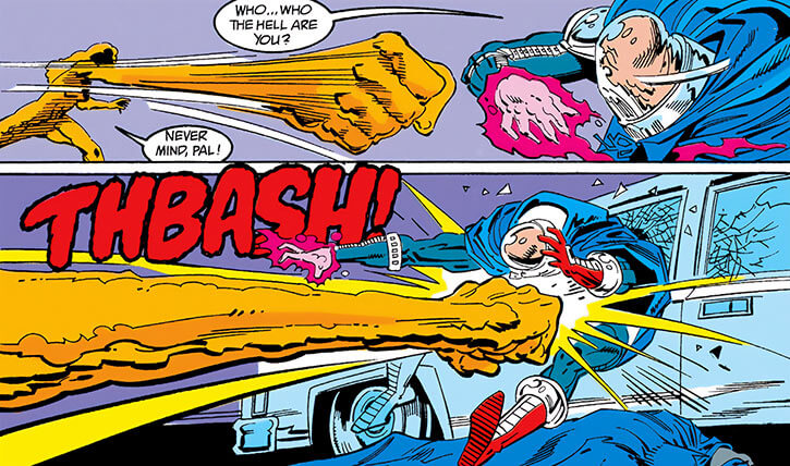 Lady Clay / Clayface 4 (DC Comics) stretching her arm and fist to punch
