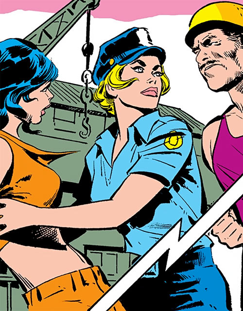 Lady Cop (DC Comics 1st issue special) protecting a young woman