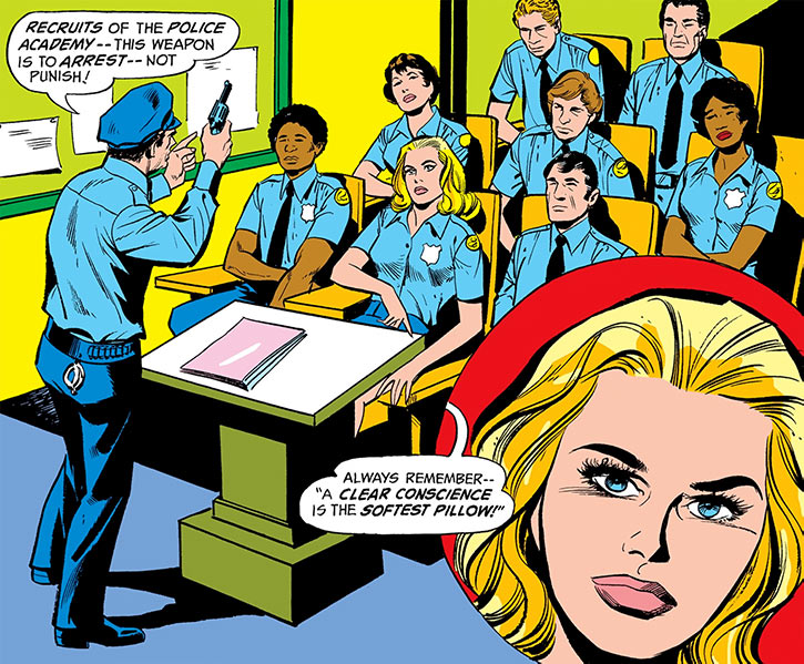 1975 police academy classroom with closeup on DC Comics' Lady Cop
