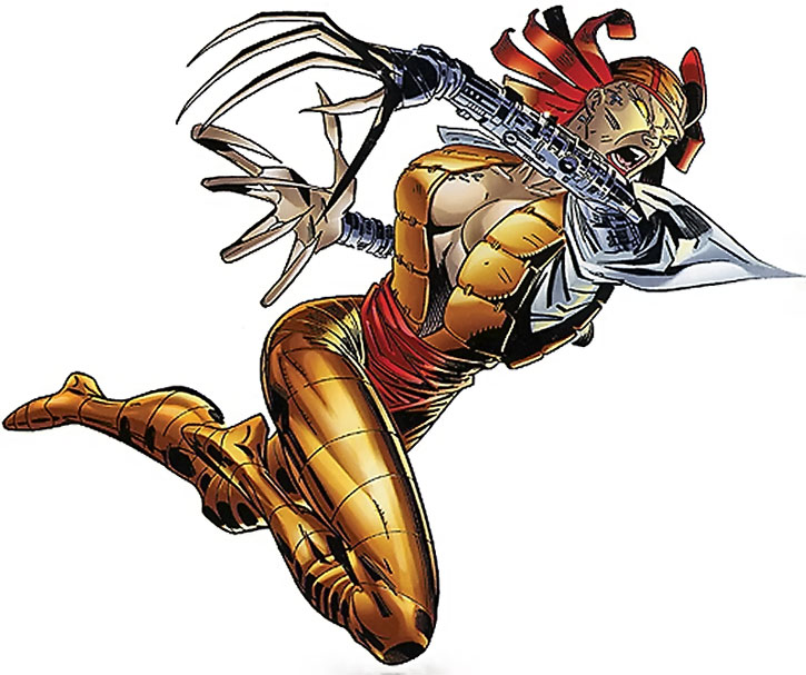 Lady Deathstrike leaping in and clawing