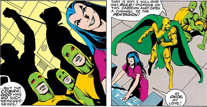 Lady Eve (DC Comics) (Kobra leader, Outsiders enemy) and Kobra troops