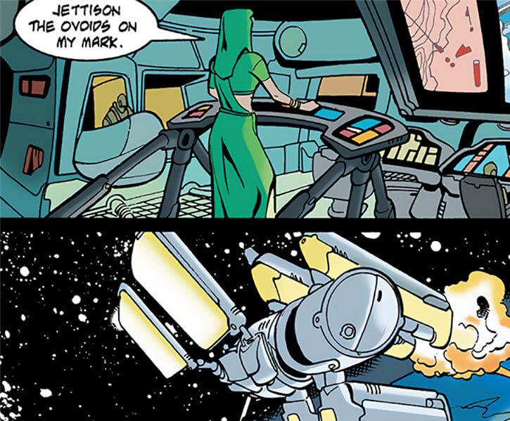 Lady Eve (DC Comics) (Kobra leader, Outsiders enemy) commanding a war satellite