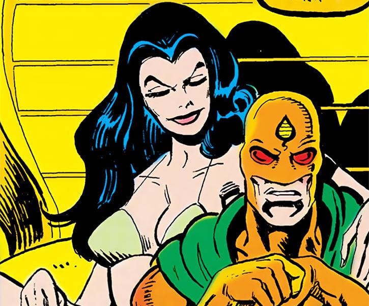 Lady Eve (DC Comics) (Kobra leader, Outsiders enemy) on a throne with Kobra bikini