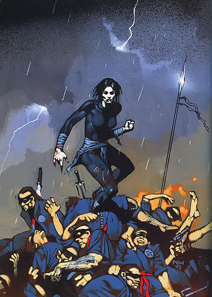 Painting of Lady Shiva standing over fallen opponents