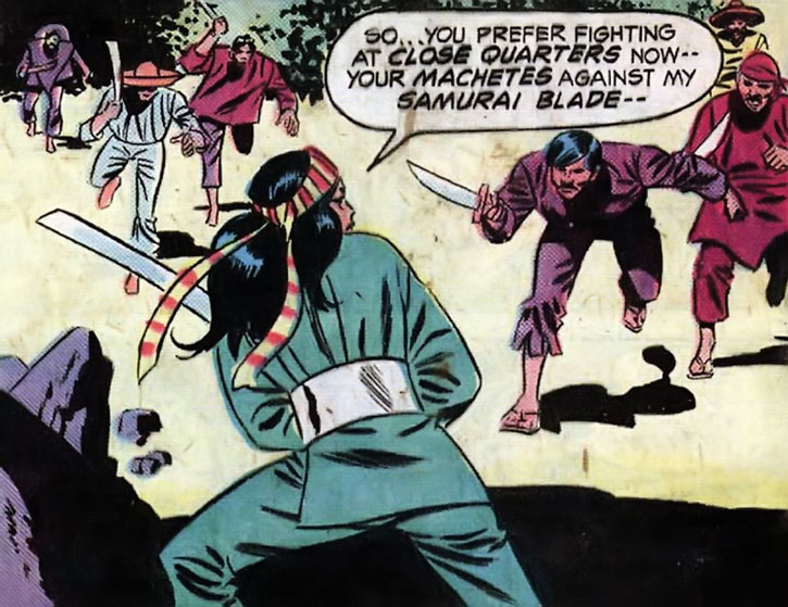 Lady Shiva faces men with machetes